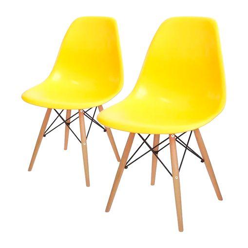 Conjunto de 2 Cadeiras de Jantar Eames Wood Amarela ÓR