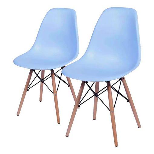 Conjunto de 2 Cadeiras de Jantar Eames Wood Azul ÓR