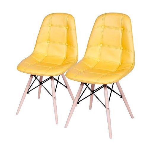Conjunto de 2 Cadeiras de Jantar Eames Wood Botonê Amarela ÓR
