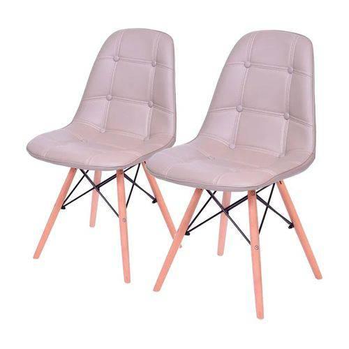 Conjunto de 2 Cadeiras de Jantar Eames Wood Botonê Fendi ÓR
