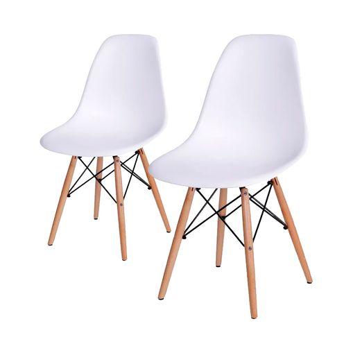 Conjunto de 2 Cadeiras de Jantar Eames Wood Branca ÓR