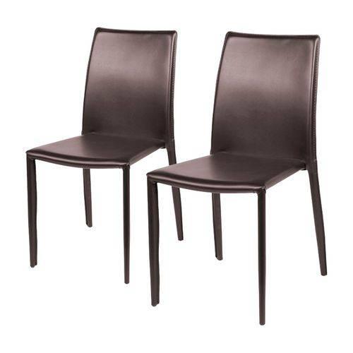 Conjunto de 2 Cadeiras de Jantar Marrom Alba ÓR Design