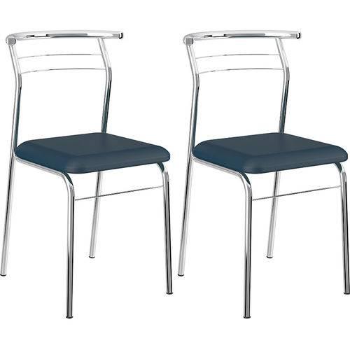 Conjunto de 2 Cadeiras Napa Cromado 1708 – Carraro - Azul Noturno