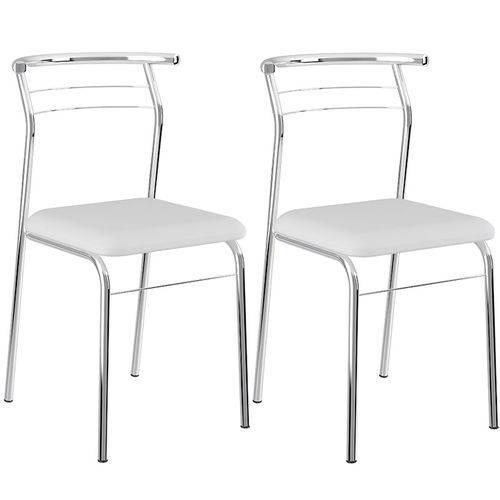 Conjunto de 2 Cadeiras Napa Cromado 1708 – Carraro - Branco