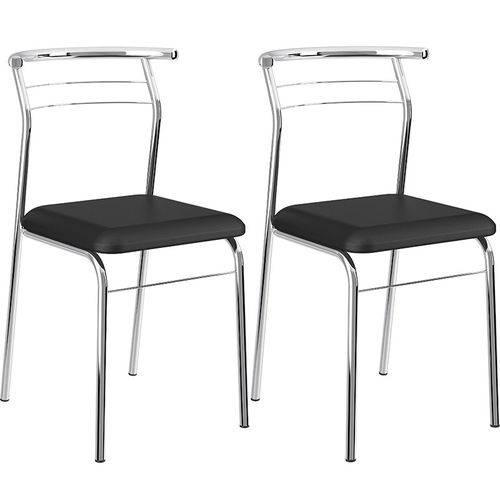 Conjunto de 2 Cadeiras Napa Cromado 1708 – Carraro - Preto