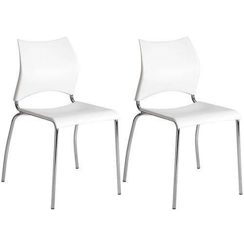 Conjunto de 2 Cadeiras Polipropileno 357 – Carraro - Branco / Cromada