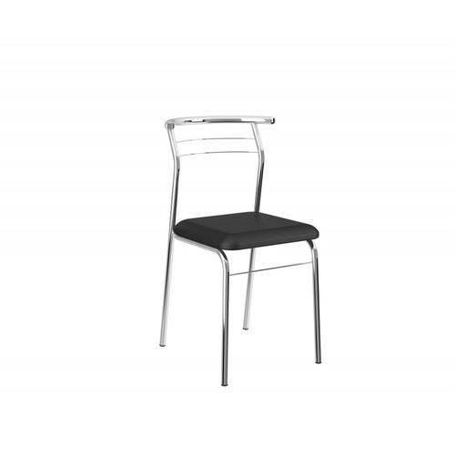 Conjunto de 2 Cadeiras Preto e Cromado