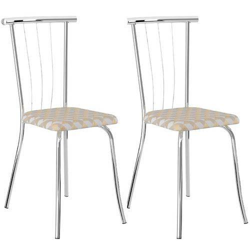 Conjunto de 2 Cadeiras Tecido Andino 154 – Carraro - Retrô Metalizado