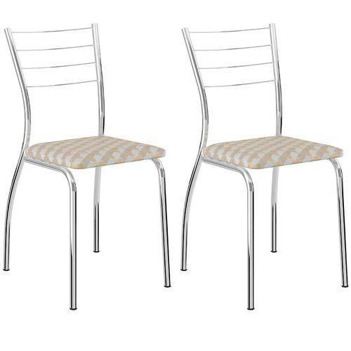 Conjunto de 2 Cadeiras Tecido Andino 1700 – Carraro - Retrô Metalizado