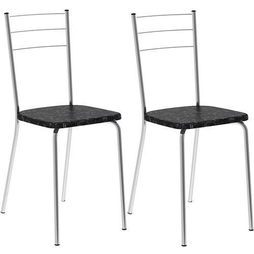 Conjunto de 2 Cadeiras Tecil 703 – Carraro - Preto Fantasia