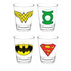Conjunto de Copos Liga da Justica Escudo Super Herois DC Comics - 4 Pecas