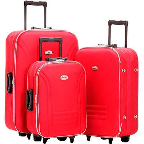 Conjunto de Malas ET665 3 Peças (P, M, G) Vermelha em Poliéster, Cadeado Embutido C/ Segredo - Batiki