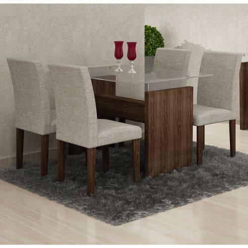 Conjunto de Mesa 1.20m Evidence com 4 Cadeiras Classic Malbec Tecido 80 Cel Móveis