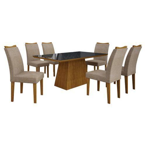 Conjunto de Mesa 1.80m com 6 Cadeiras Pampulha Imbuia Mel Tecido Linho Bege Leifer Móveis