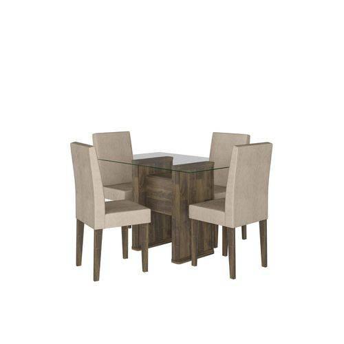Conjunto de Mesa 120 Cm com 4 Cadeiras Europa Amadeirado
