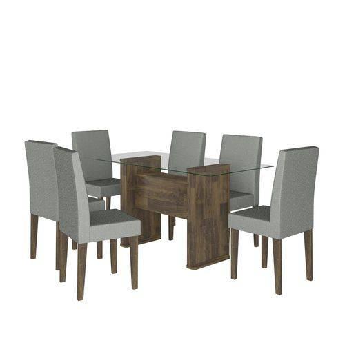 Conjunto de Mesa 159 Cm com 6 Cadeiras Europa Amadeirado