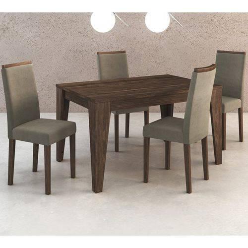 Conjunto de Mesa com 4 Cadeiras em Madeira Maciça MDP BP Cj1000 Nogal Suede Graveto Tecno Mobili