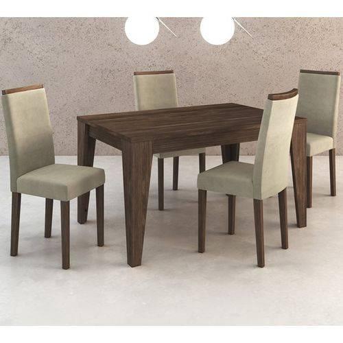 Conjunto de Mesa com 4 Cadeiras em Madeira Maciça MDP BP Cj1000 Nogal Suede Vanilla Tecno Mobili