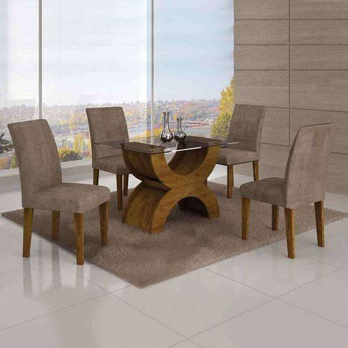 Conjunto de Mesa com 4 Cadeiras Olímpia Ii Suede Amassado Canela e Capuccino