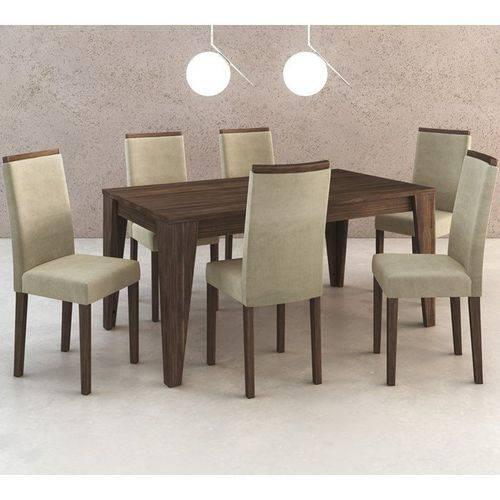 Conjunto de Mesa com 6 Cadeiras em Madeira Maciça MDP BP Cj1001 Nogal Suede Vanilla Tecno Mobili