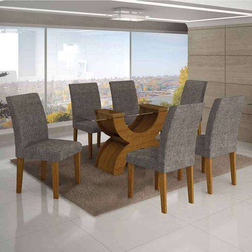 Conjunto de Mesa com 6 Cadeiras Olímpia I Linho Imbuia Mel e Cinza