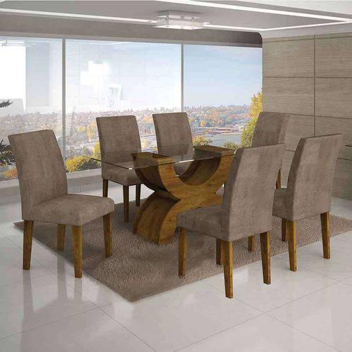 Conjunto de Mesa com 6 Cadeiras Olímpia I Suede Amassado Canela e Capuccino