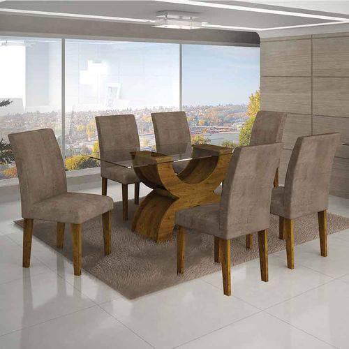 Conjunto de Mesa com 6 Cadeiras Olímpia Ii Suede Amassado Canela e Capuccino