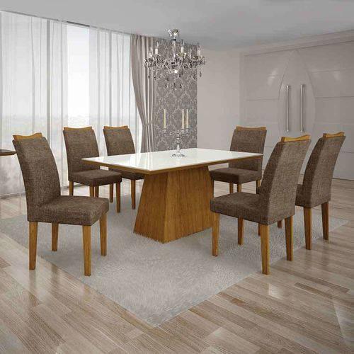 Conjunto de Mesa com 6 Cadeiras Pampulha I Linho Imbuia Mel e Marrom