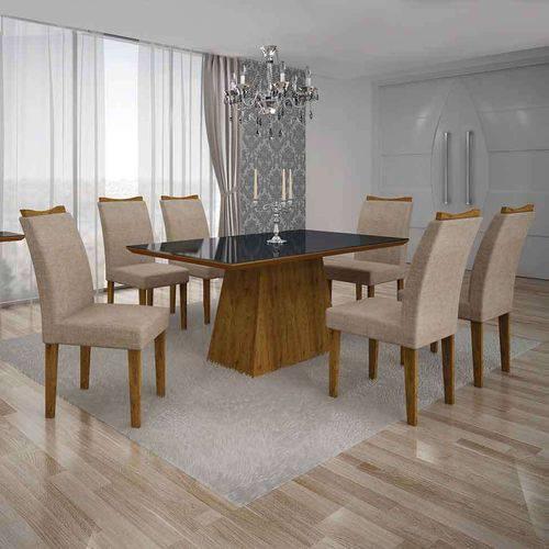Conjunto de Mesa com 6 Cadeiras Pampulha Iv Linho Canela e Bege