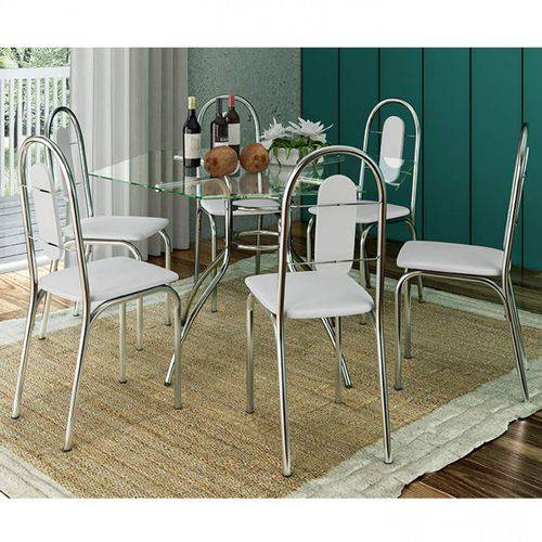 Conjunto de Mesa Tampo Vidro com 6 Cadeiras Aço Sicília Móveis Brastubo Cromado/Branco