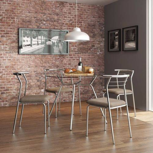 Conjunto de Mesa Tampo Vidro Redondo com 4 Cadeiras Luanda Cromado/Camurça/Conhaque