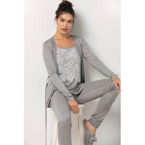 Conjunto de Pijama com Cardigan - Arabesco Mescla G