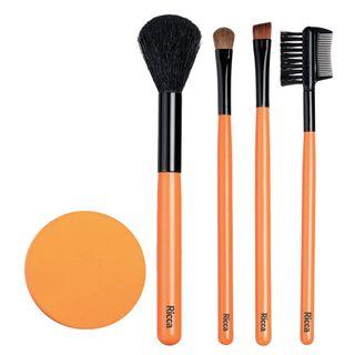 Conjunto de Pinceis de Maquiagem e Esponja Ricca Kit