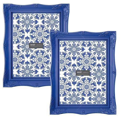 Conjunto de Porta-Retratos Frame - 2 Peças - Azul Royal - 19,5x14,5 Cm
