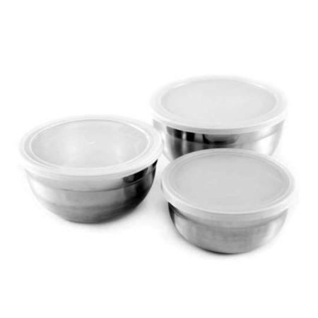 Conjunto de Potes em Inox com Tampa 3 Peças - Gourmet Mix