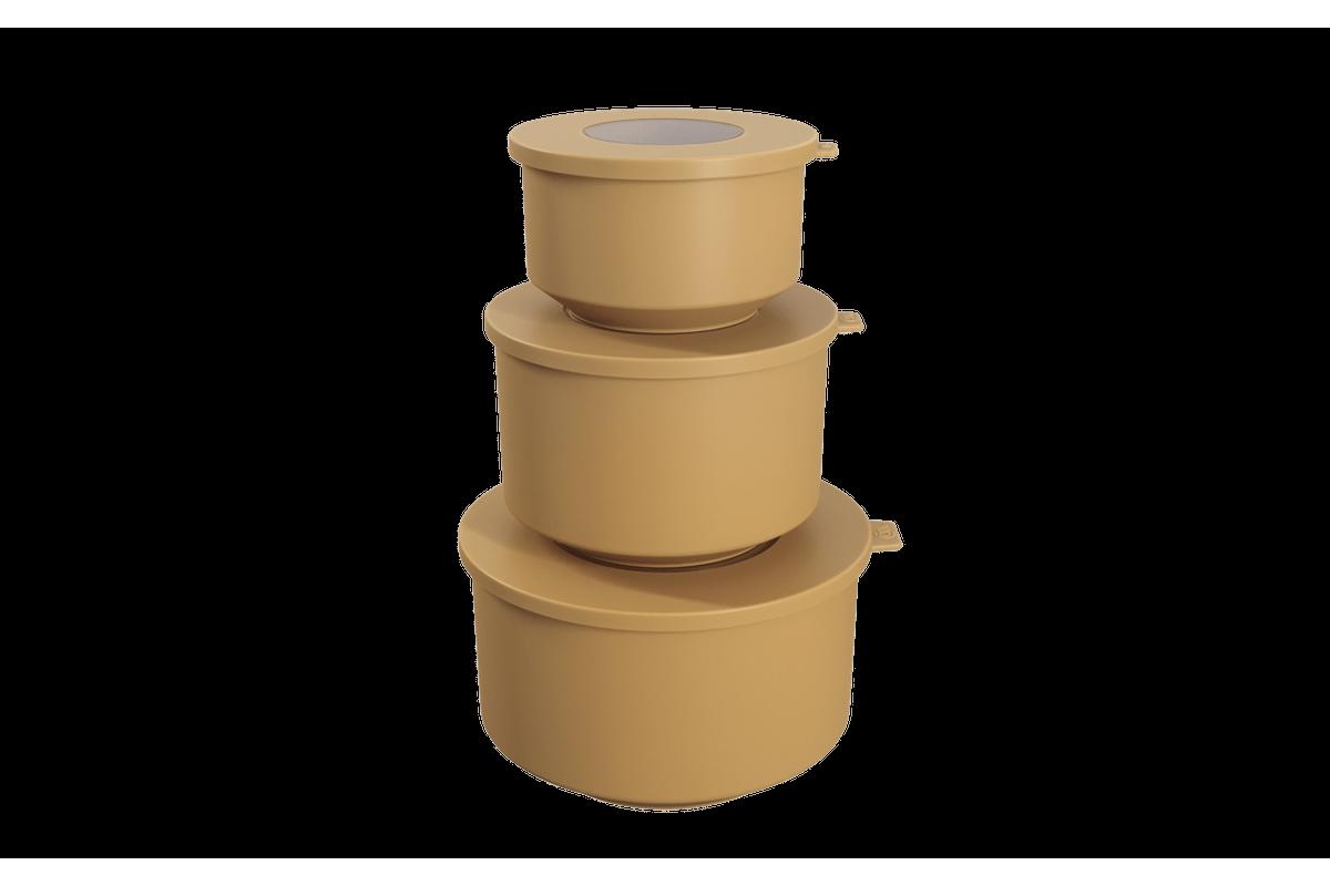 Conjunto de 3 Potes Hoop 8,3x19,6x11cm Amarelo Quente Coza