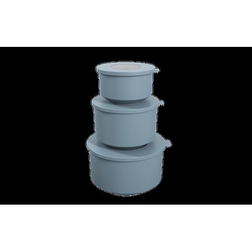 Conjunto de 3 Potes Hoop 8,3x19,6x11cm Azul Fog Coza