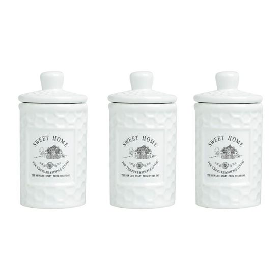 Conjunto de Potes Sweet Home 3 Pecas 150 Ml Branco
