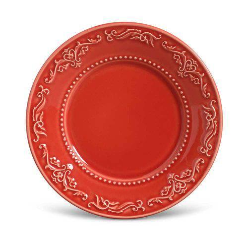 Conjunto de Pratos para Sobremesa Acanthus Vermelho - 6 Peças - em Cerâmica - La Tavola - Porto Br