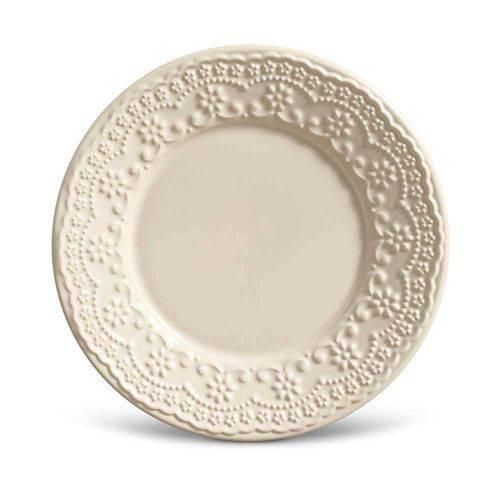 Conjunto de Pratos para Sobremesa Madeleine Crú - 6 Peças - em Cerâmica - La Tavola - Porto Brasi