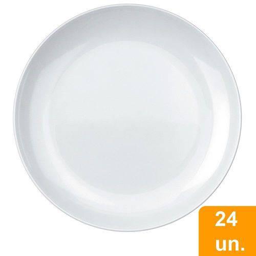 Conjunto de Pratos Sobremesa Duralex Opaline Blanc 19cm, Raso, de Vidro com 24 Peças