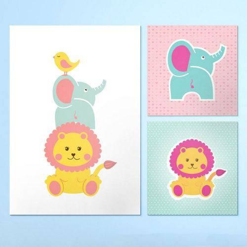 Conjunto de Quadros Infantil em Canvas Animais