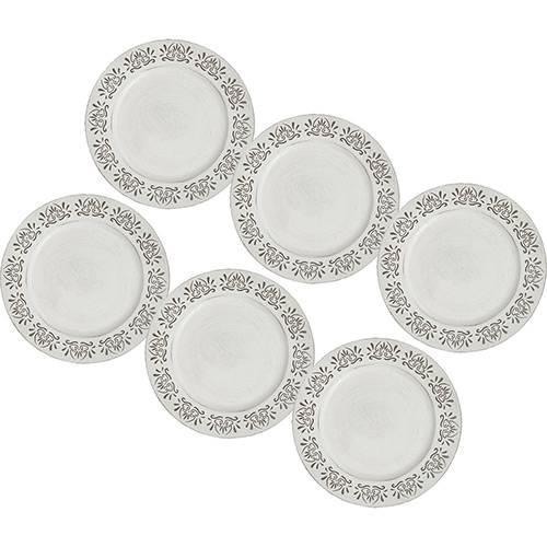 Conjunto de Sousplat de Plástico Black And White Cook 33cm 6 Peças - Rojemac