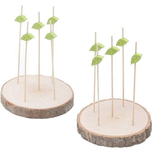 Conjunto de 2 Tábuas de Madeira com 15 Espetos em Bambu 6584 Lyor