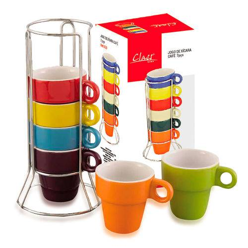 Conjunto de Xícara de Café 7 Peças - Class Home
