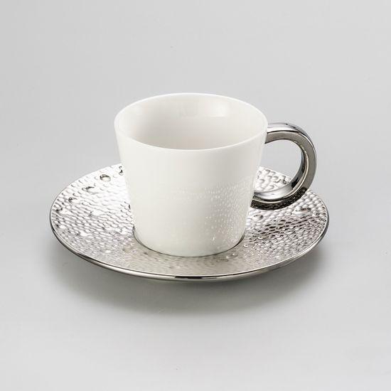 Conjunto de Xícaras de Chá Drop Prateada em Porcelana Super White com 6 Peças