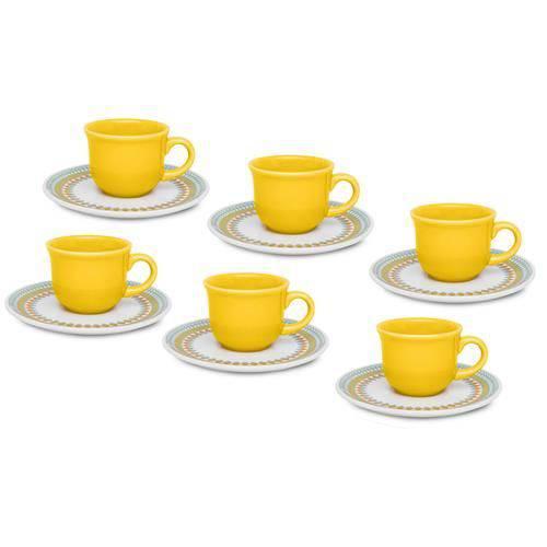 Conjunto de Xícaras de Chá Oxford Bilro Amarelo 12 Peças