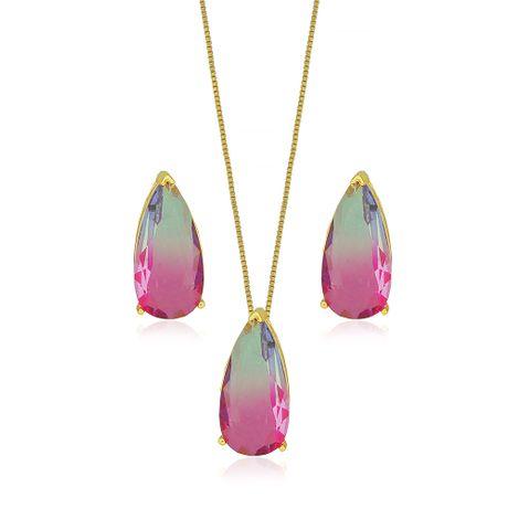 Conjunto Dourado Gota Rainbow Rosa e Lilás