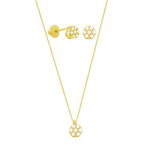 Conjunto em Ouro 18K Pavê com Zircônias - AU5741