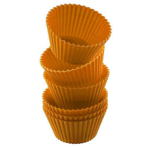Conjunto Forma Cupcake Silicone 6 Peças B066 Laranja Basic Kitchen